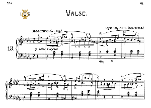 waltz no.13, op.70 no.3 in d-flat major, f.chopin, scholtz, ed.c.f.peters (1904), a5, tablet edition (landscape), 7pp