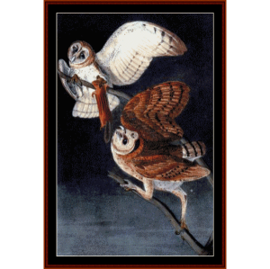 barn owls - wildlife cross stitch pattern by cross stitch collectibles