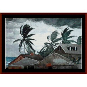 hurricane bahamas - homer cross stitch pattern by cross stitch collectibles