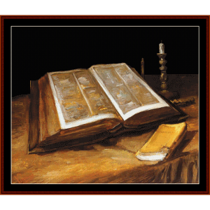 still life with bible - van gogh cross stitch pattern by cross stitch collectibles