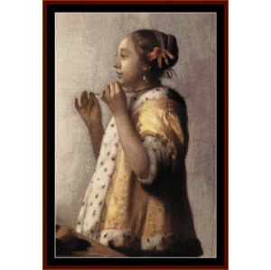 girl with pearl necklace - vermeer cross stitch pattern by cross stitch collectibles