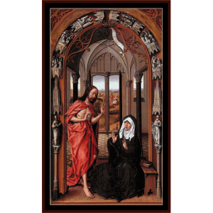 christ appearing to his mother - van der weyden cross stitch pattern by cross stitch collectibles