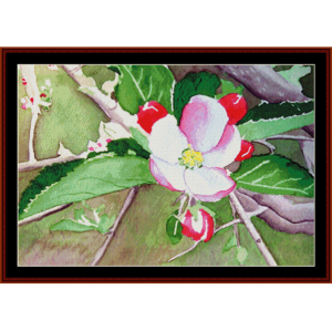 apple blossom - floral cross stitch pattern by cross stitch collectibles