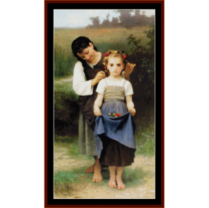 Posies - Bouguereau cross stitch pattern by Cross Stitch Collectibles | Crafting | Cross-Stitch | Wall Hangings
