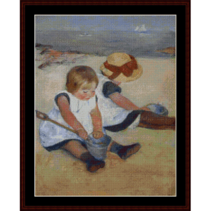children on the beach - cassatt cross stitch pattern by cross stitch collectibles