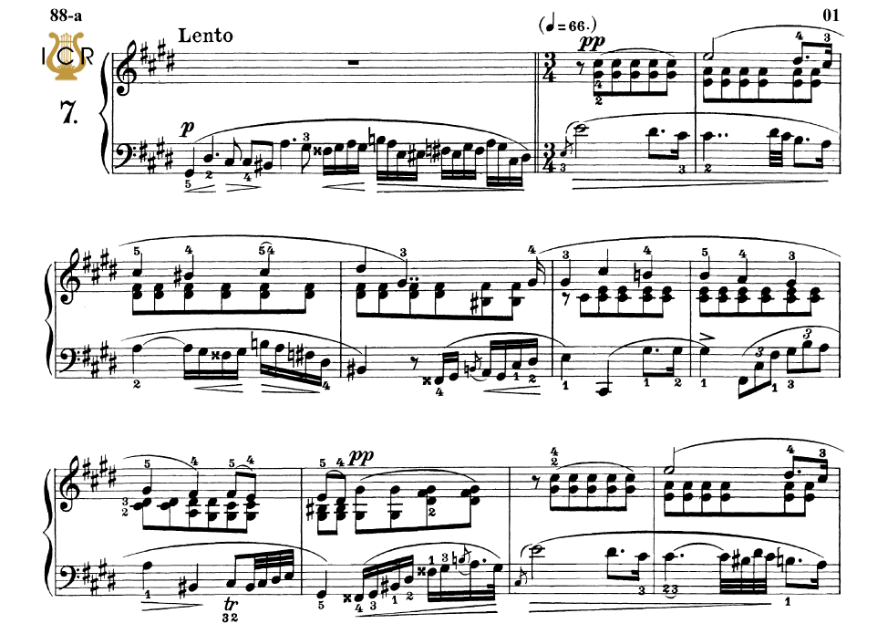 Etude Op 25 No 7 in C-Sharp minor, F Chopin, Scholtz, Ed C F Peters (1904),  A5, Tablet Edition (Landscape), 7pp