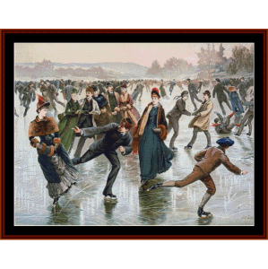 ice skating - americana cross stitch pattern by cross stitch collectibles