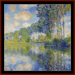Poplars on the Epte II - Monet cross stitch pattern by Cross Stitch Collectibles | Crafting | Cross-Stitch | Wall Hangings