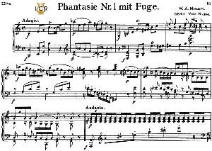 fantasia and fugue no.1, k.394 in c major, w.a mozart, breitkopf urtext, reprint kalmus, tablet edition (a5 landscape), 15pp