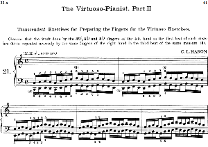 lesson no. 21 (3-4-5), the virtuoso pianist, part 2, ch.hanon, ed. schirmer (pd), tablet edition, a5 landscape, 4pp