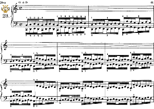 lesson no. 23 (3-4-5), the virtuoso pianist, part 2, ch.hanon, ed. schirmer (pd), tablet edition, a5 landscape, 3pp
