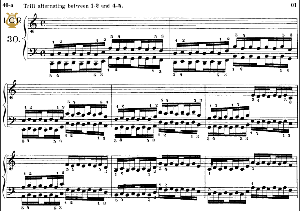 lesson no. 30 (trill 1-2 and 4-5), the virtuoso pianist, part 2, ch.hanon, ed. schirmer (pd), tablet edition, a5 landscape, 3pp