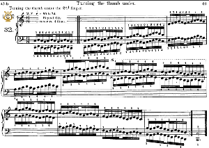 lesson no.32 (turning the thumb under 2rd finger), the virtuoso pianist, part 2, ch.hanon, ed. schirmer (pd), tablet edition, a5 landscape, 2pp