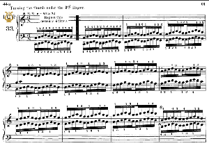lesson no.33 (turning the thumb under 3rd finger), the virtuoso pianist, part ,2, ch.hanon, ed. schirmer (pd), 2tablet edition, a5 landscape, 2pp