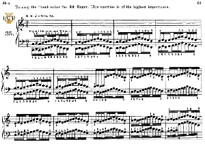 lesson no.35 (turning the thumb under 5th finger), the virtuoso pianist, part 2, ch.hanon, ed. schirmer (pd), tablet edition, a5 landscape, 2pp