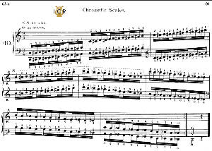 Lesson No.40 (Chromatic Scales), The Virtuoso Pianist, Part 2, Ch.Hanon, Ed. Schirmer (PD), Tablet Edition, A5 Landscape, 8pp | eBooks | Sheet Music