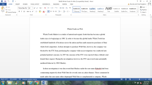 BA420 Whole Foods on Web | Documents and Forms | Research Papers