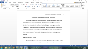 Dispositional, Biological and Evolutionary Theory Paper | Documents and Forms | Other Forms