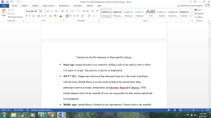 timeline for the development of abnormal psychology