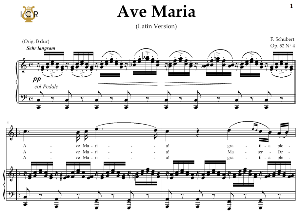 ave maria, d. 839  in c major (high soprano/tenor). latin version. f.schubert. digital score after peters friedlaender edition (pd).  a5 (landscape).tablet sheet music download.