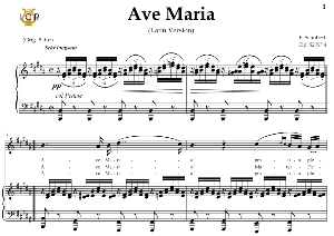 Ave Maria, D. 839  in B Major  (Soprano/Tenor). Latin Version. F.Schubert. Digital score after Peters Friedlaender Edition (PD).  A5 (landscape).Tablet Sheet Music Download. | eBooks | Sheet Music