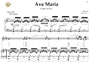 ave maria, d. 839 in g major (mezzo/baritone). latin version. f.schubert. digital score after peters friedlaender edition (pd).  a5 (landscape).tablet sheet music download.