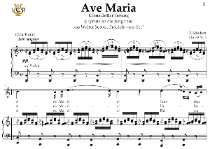 ave maria, d. 839 in c major (high soprano/tenor). in german. f.schubert. digital score after peters friedlaender edition (pd).  a5 (landscape).tablet sheet music download.