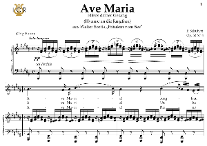 Ave Maria, D. 839 in B Major  (Soprano/Tenor). In German. F.Schubert. Digital score after Peters Friedlaender Edition (PD).  A5 (landscape).Tablet Sheet Music Download. | eBooks | Sheet Music