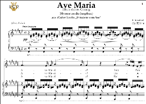 ave maria, d. 839 in f-sharp major (contralto). in german. f.schubert. digital score after peters friedlaender edition (pd).  a5 (landscape).tablet sheet music download.