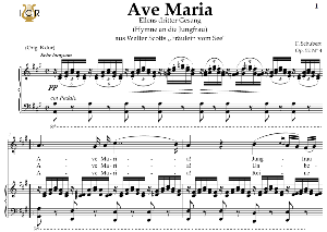 ave maria, d. 839 in a major (mezzo/baritone). in german. f.schubert. digital score after peters friedlaender edition (pd).  a5 (landscape).tablet sheet music download.