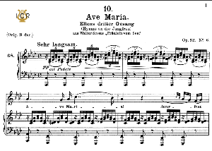 ave maria, d. 839 in a-flat major (mezzo/baritone). in german. f.schubert. peters friedlaender low edition (pd).  a5 (landscape).tablet sheet music download.