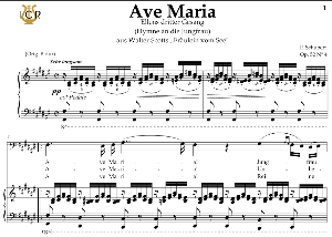 ave maria, d. 839 in f-sharp major (bass). in german. f.schubert. digital score after peters friedlaender edition (pd).  a5 (landscape).tablet sheet music download.