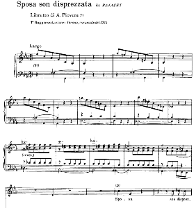 sposa son disprezzata, medium voice  in f minor, g.giacomelli. for baritone, mezzo. ed. ricordi. sheet music.
