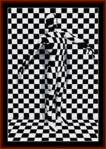 checkered man cross stitch pattern by cross stitch collectibles