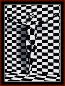 checkered woman cross stitch pattern by cross stitch collectibles