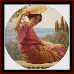 golden hours, 1913 - godward cross stitch pattern by cross stitch collectibles