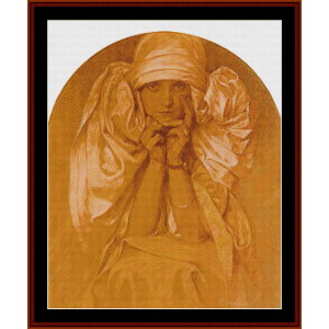 Portrait of Jaroslava II - Mucha cross stitch pattern by Cross Stitch Collectibles | Crafting | Cross-Stitch | Wall Hangings