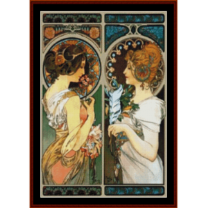 primrose and feather - mucha cross sttich pattern by cross stitch collectibles