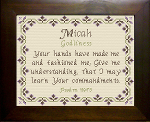 Name Blessings -  Micah 3 | Crafting | Cross-Stitch | Religious