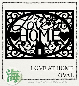 love at home oval papercut svg