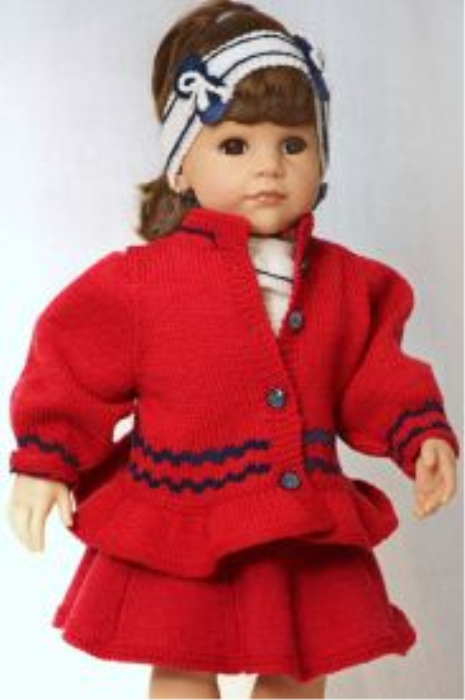 First Additional product image for - DollKnittingPattern 0139D JULIE Skirt, sweater, pants, tights, jacket, hat, hairband, shoes-(English)