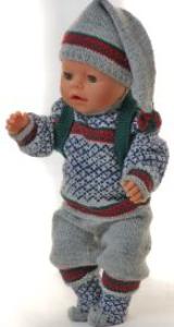 dollknittingpatterns 0140d cecil - genser, nikkers bukse, lue, sokker og ryggsekk-(norsk)