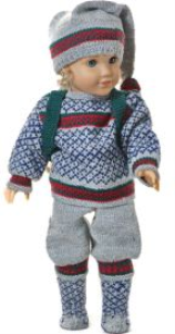 dollknittingpattern 0140d cecil - weater, pants, cap, socks and back sack-(english)