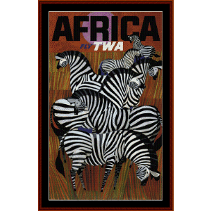 fly twa africa - vintage poster cross stitch pattern by cross stitch collectibles
