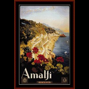 Amalfi - Vintage Poster cross stitch pattern by Cross Stitch Collectibles | Crafting | Cross-Stitch | Wall Hangings