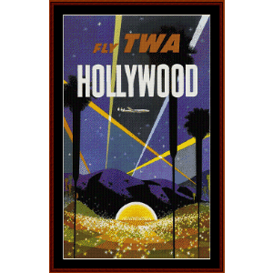 fly twa hollywood - vintage poster cross stitch pattern by cross stitch collectibles
