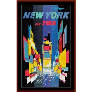 Fly TWA New York - Vintage Poster cross stitch pattern by Cross Stitch Collectibles | Crafting | Cross-Stitch | Other