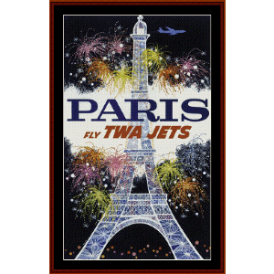 fly twa paris - vintage poster cross stitch pattern by cross stitch collectibles