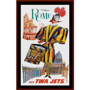 Fly TWA Rome - Vintage Poster cross stitch pattern by Cross Stitch Collectibles | Crafting | Cross-Stitch | Wall Hangings