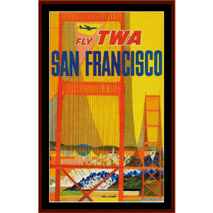fly twa san francisco - vintage poster cross stitch pattern by cross stitch collectibles
